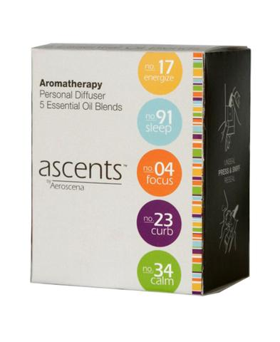 Ascents® Variety Pack with Five Essential Oil Inhalers Clinical Aromatherapy